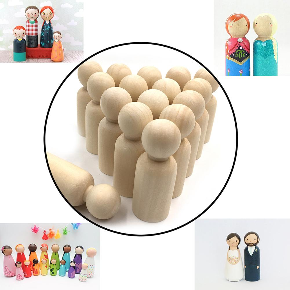 Boy And Girl Wooden Peg Dolls Unpainted Figures DIY Arts Crafts Supplies Kids Baby Toys Christmas Home Decorations