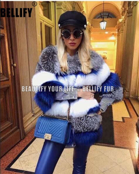 Exclusive Luxury Winter Warm Natural Fox Fur Coats Outerwear , Stylish Three Tones Beautiful Natural  Fur Coats For Women