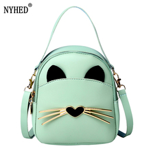 NYHED Women Small Backpack Fashion Girls Cute Cat Backpacks Female Zipper Purse