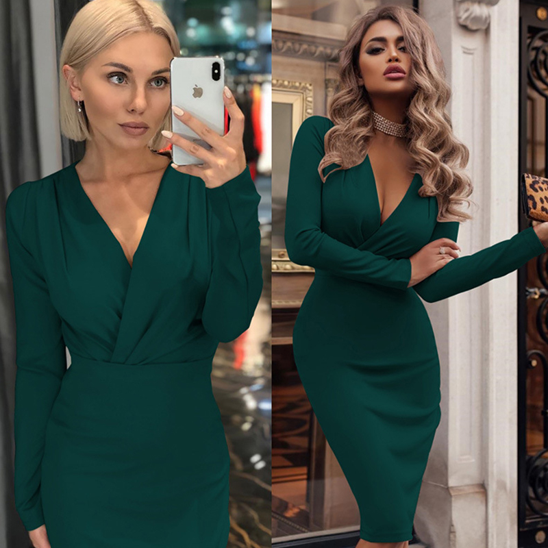 Women Vintage Autumn Winter Solid Bodycon Party <font><b>Dress</b></font> <font><b>Sexy</b></font> <font><b>Deep</b></font> <font><b>V</b></font> Neck Wrap Elegant <font><b>Dress</b></font> 2019 Ladies Casual Slim Pencil <font><b>Dresses</b></font> image
