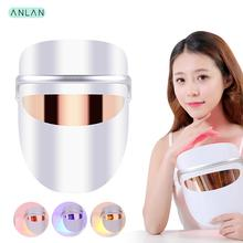 LED Facial Mask Beauty Skin Rejuvenation Photon Light 3 Colors with Eye Massage 40° Warm Visible Acne Tighten Tool