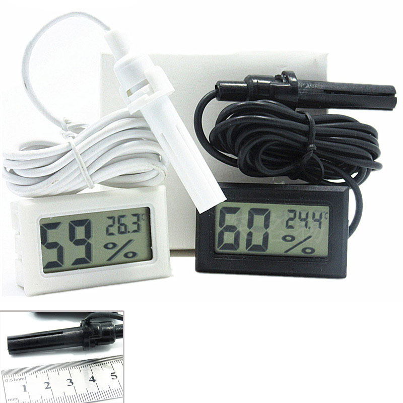 Indoor Convenient LCD Digital Thermometer Aquarium Hygrometer Temperature Mini Sensor Hygrometer Humidity Instruments With Probe