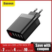 Baseus cargador USB para teléfono, cargador de teléfono con 4 puertos, 30W, 5V/6A Max, con pantalla Digital, portátil