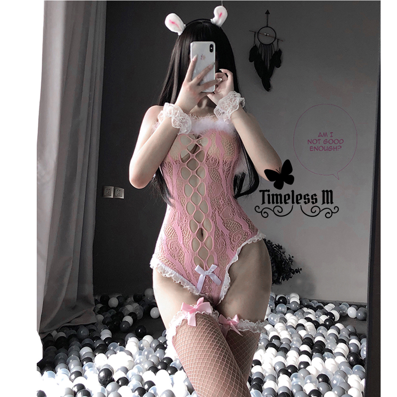 Paloli 2020 Women Sexy Lingerie Fishnet Bodysuit With Stocking Erotic See Through Costumes Black Pink Lace Bunny Cosplay Bustier