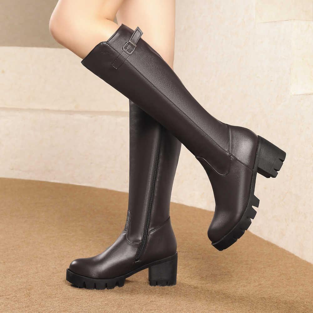 CDPUNDARI High heels Knie Hohe stiefel frauen Plattform stiefel Damen winter schnee stiefel schuhe frau botas nieve mujer