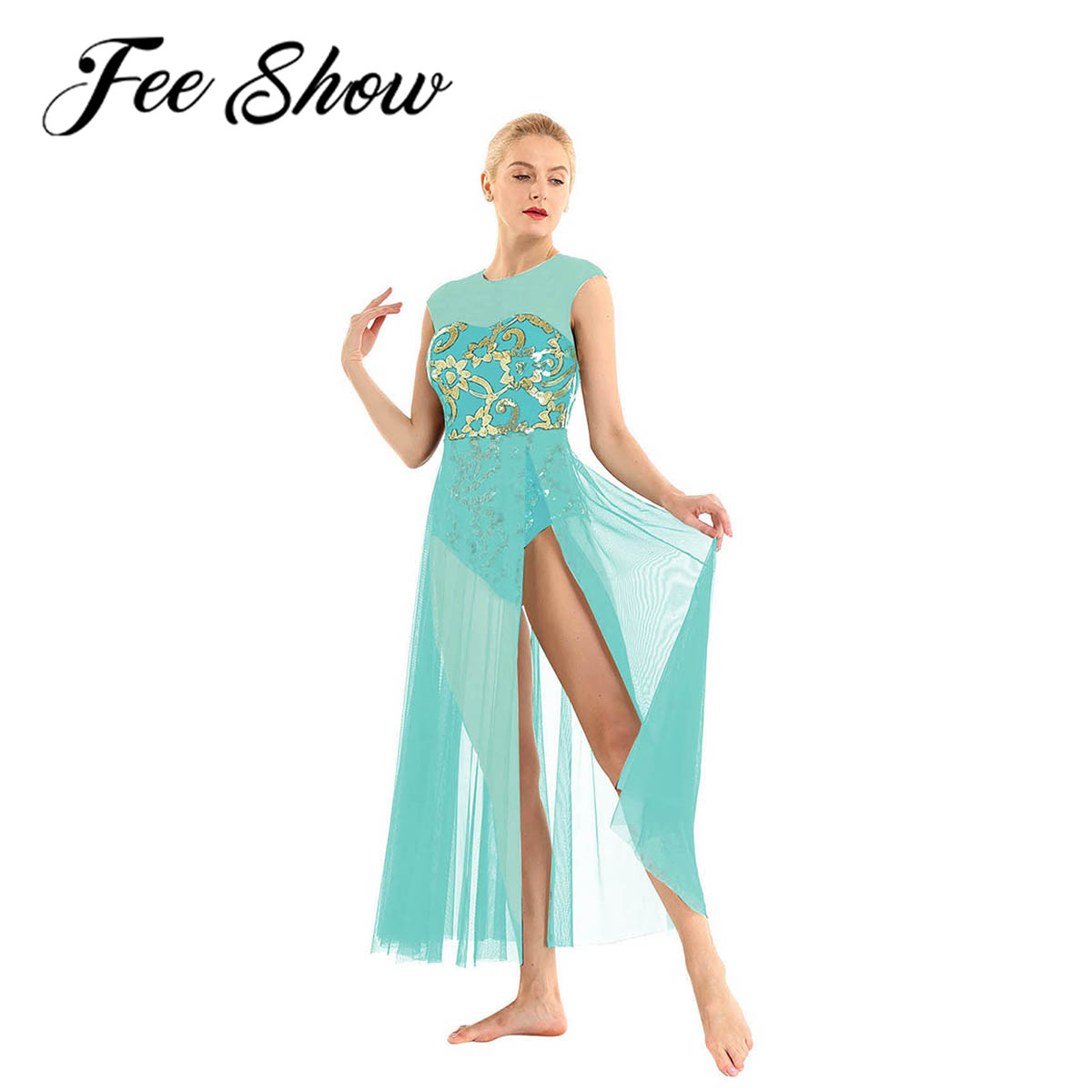 Women Ballet Tutu Skirt Floral Sequins Shiny Tank Leotard Maxi Dress for Modern Lyrical Praise Contemporary Stage Dance CostumeBallet   -