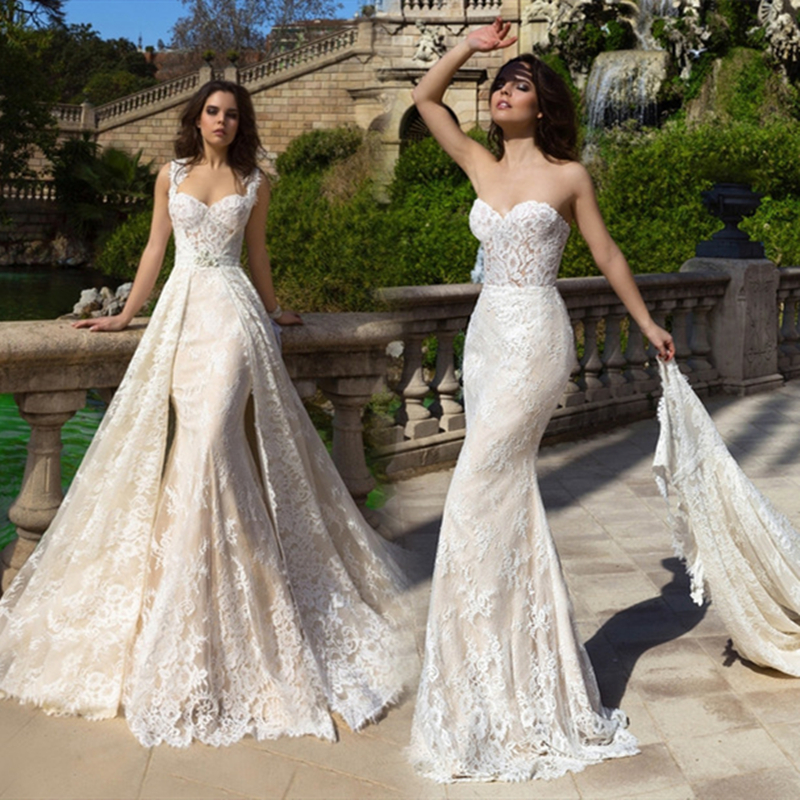 2 Pieces Wedding Dress Detachable Overskirt Removable Cap Sleeve Full Lace Champagne Lining vestido de noiva Bridal Gowns