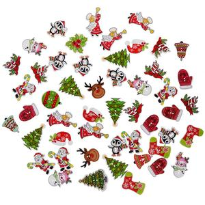50pcs/pack Random Mixed Wooden Button Christmas Pattern Scrapbook Decorative Buttons For Cloth Decoration New Year's Product