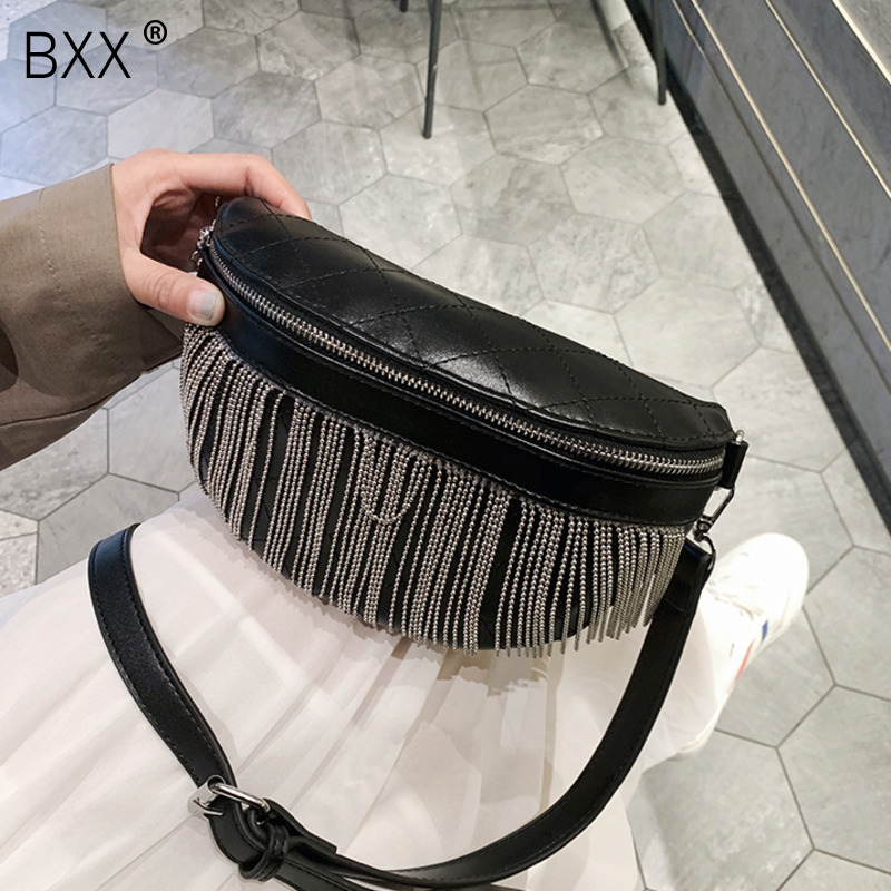 [BXX] 2020 Fashion Chest Bags Lady PU Leather Tassel Chain Desingn Crossbody Shoulder Messenger Bag Female Travel Handbags HK576