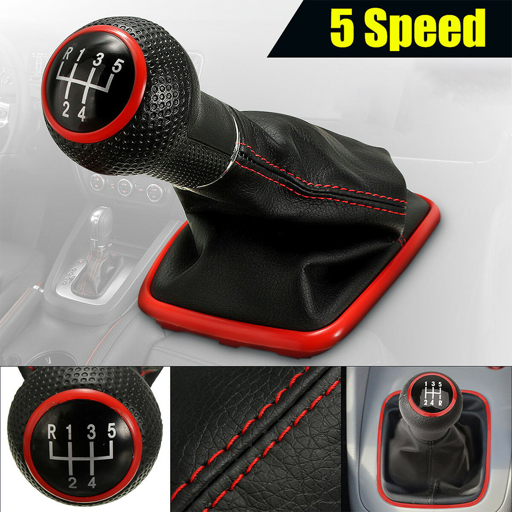 <font><b>5</b></font> Speed Gear Shift Knob Stick Shifter Lever Gaiter Boot Cover Collar For Volkswagen <font><b>VW</b></font> <font><b>Golf</b></font> <font><b>GTI</b></font> R32 Jetta Bora Car <font><b>Accessories</b></font> image
