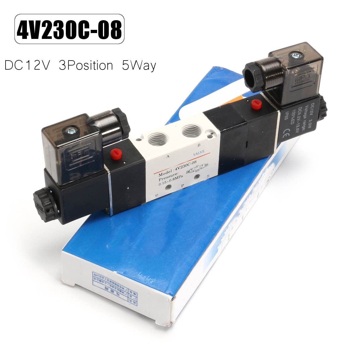 5 Port 3 Position 3/5 Way Double Head Solenoid Air Control Valve Port Center Close 4V230C-08 DC12V Best