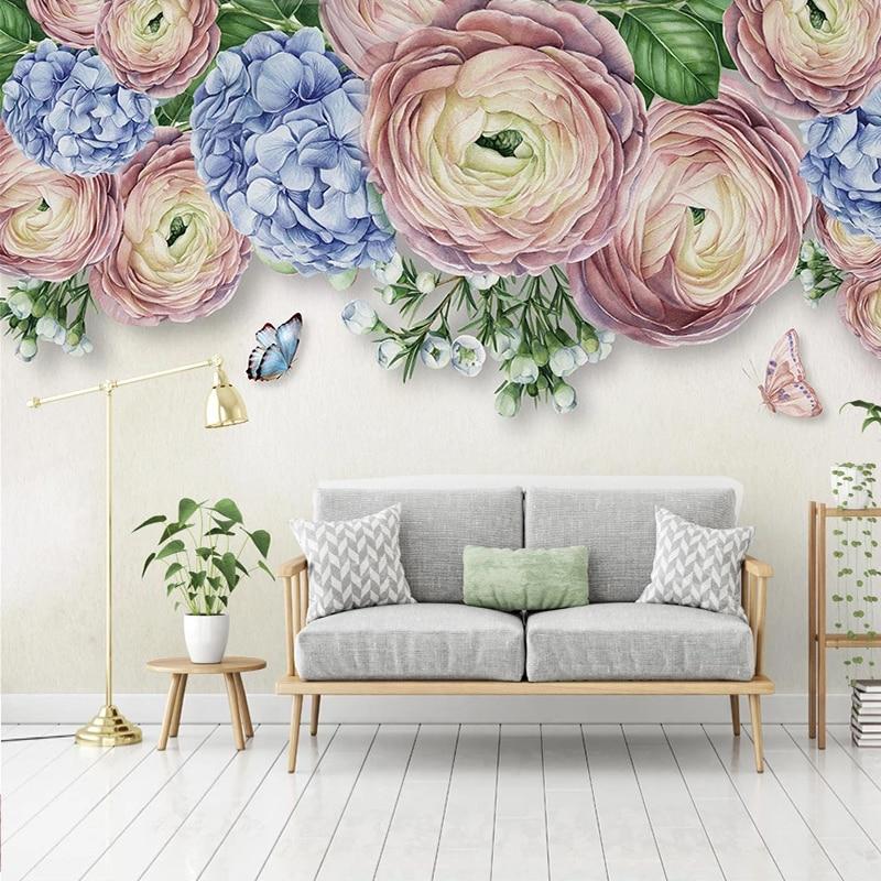 Custom 3D Mural Wallpaper Modern Hand Painted Flower Butterfly Pastoral Bedroom Living Room Decoration Self-adhesive Wallpaper