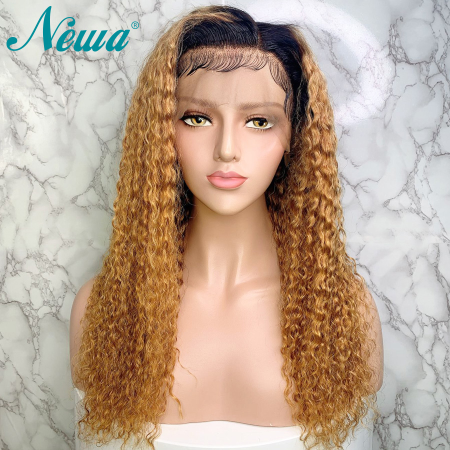Newa Hair Ombre Human Hair Wig Pre Plucked With Baby Hair 13x6 Curly Lace Front Wigs Brazilian Remy Hair Colored Wigs For Women