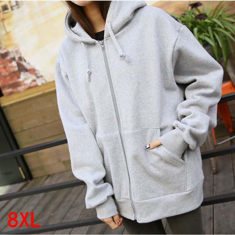 Large Size Women's Hoodie Plus Size 5XL 6XL 7XL 8XL Bust 139cm Autumn And Winter Long Sleeve Loose Large Size Sweatshirt Jacket