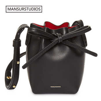 MANSURSTUDIOS MINI Bucket Bag Mansur women Real Leather Shoulder bag , Gavriel ladies leather Crossbody bags  Small bag for girl - DISCOUNT ITEM  30% OFF All Category