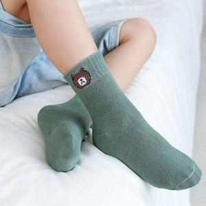 10 stück = 5 Pairs Nette Cartoon Kinder Socken Herbst Winter Weichen Neugeborenen Kleinkind Socken Tier Bär Druck Jungen Mädchen socken 0-8 Jahre