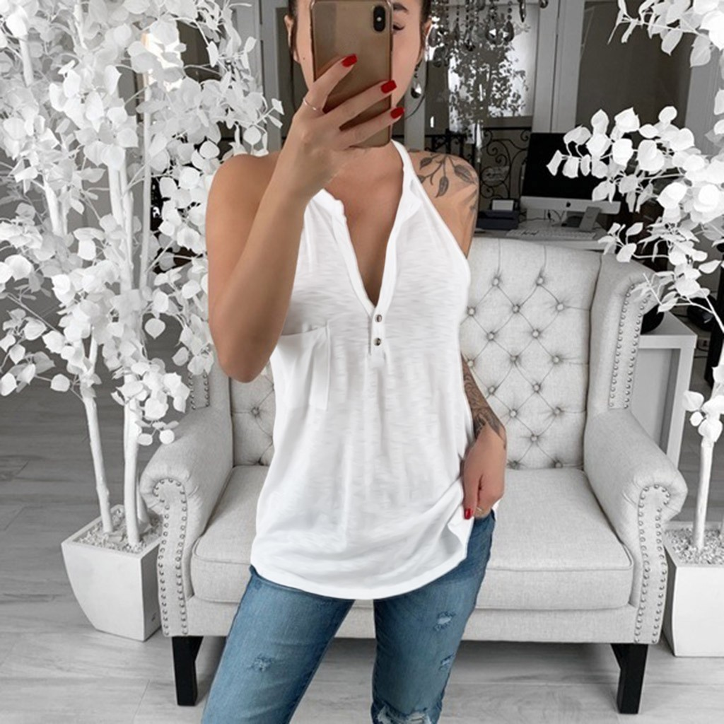 Plus Size Fashion Solid Halter Blouse Pocket V-Neck Loose Tee Tops Casual Summer Ladies Female Women Sleeveless Blusas Pullover