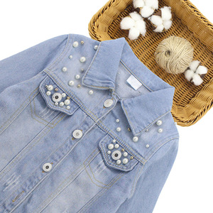 Image 3 - ילדים בנות בגדי סט פרל קישוט מעיל + ג ינס 2PCS ילדה סט בגדים מזדמן סגנון בגדי ילדים עבור בנות 6 8 10 12