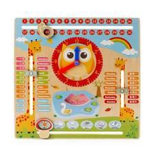 Деревянные часы когнитивный календарь Обучающие деревянные детские