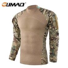 Тактическая военные Армейская Камуфляж Боевая Рыболовный длинным рукавом Рубашка рыбалки ФутболкаКостюм Походов