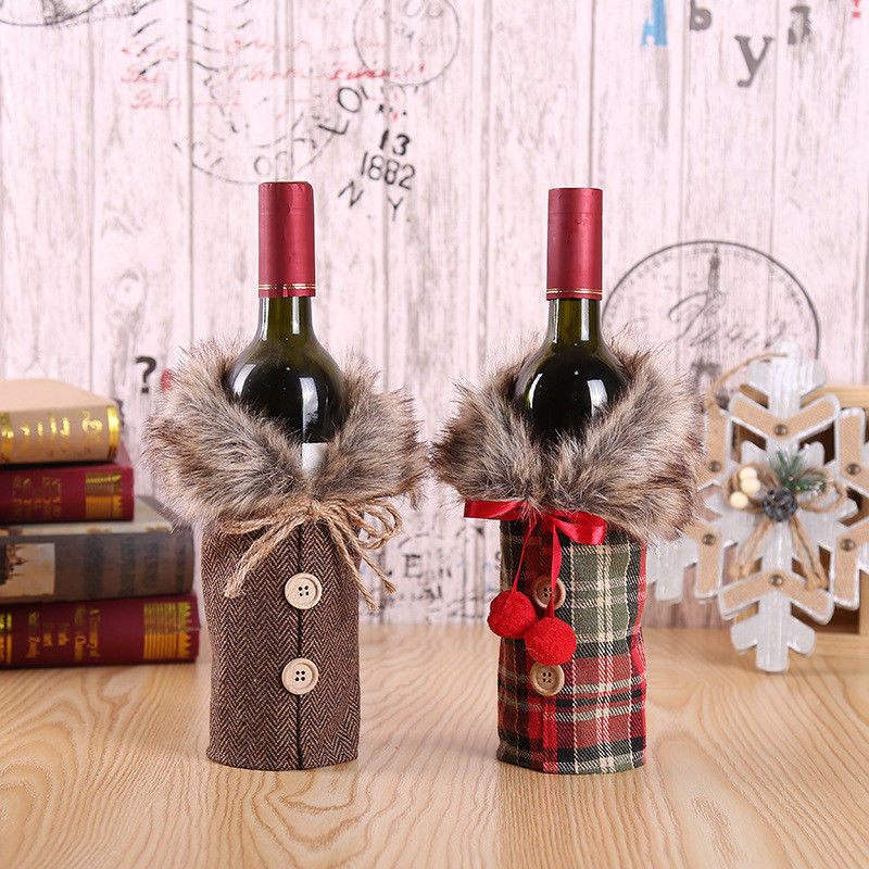 New Creative Christmas Wine Bottle Covers 2019 New Year's Bottle Clothes Red/Coffee Fur Ornament Fashion Wine Bottles Cover