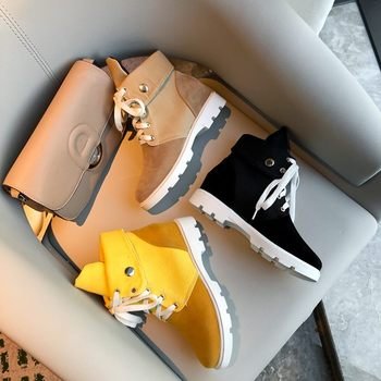 Cool flock booties yellow apricot ankle boots 1
