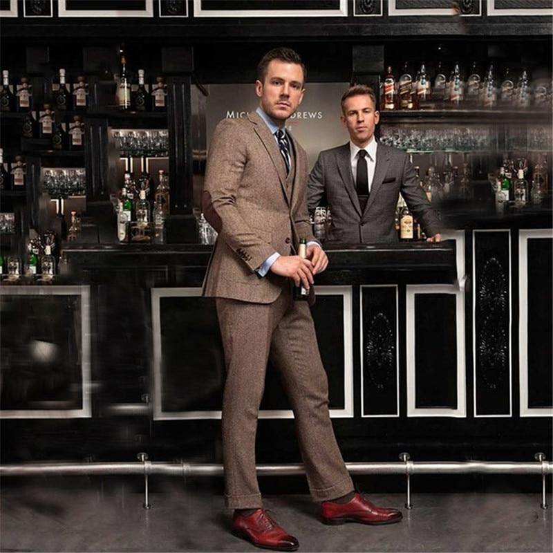 Brown Tweed Men Suits For Wedding Classic Winter Suits Men 3 Pieces Groom Tuxedo Formal Business Slim Fit Men Blazer Retro Suits