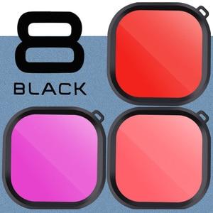 Image 5 - Kit de 3 filtros para cámara GoPro HERO 8, lentes de esnórquel de Color rojo y Magenta, accesorios de funda carcasa originales