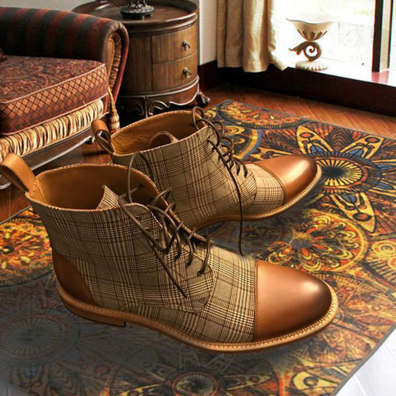 Männer Stiefel Plaid Lace Up Martin Stiefel Grund Männlichen Winter Warme Stiefeletten Fashion Mann Runde Toe Booties Mode Britischen stil D20