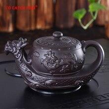Китайский чайный горшок из исинской фиолетовой глины, чайный горшок с радиционным драконом, большой объем, глиняный чайный набор ручной работы, чайник, чайный горшок кунг-фу
