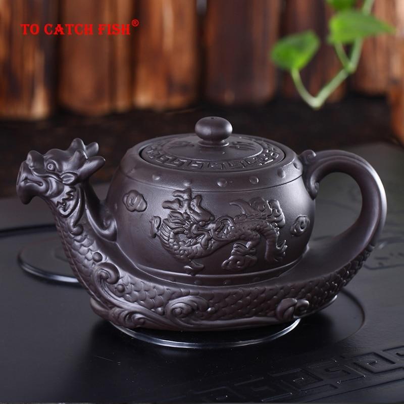 Горячие продажи Китайский Исин Фиолетовый Глиняный Чайник, радиционный Дракон Чайник большой емкости ручной работы Глиняный Чайник Кунг-фу чайник
