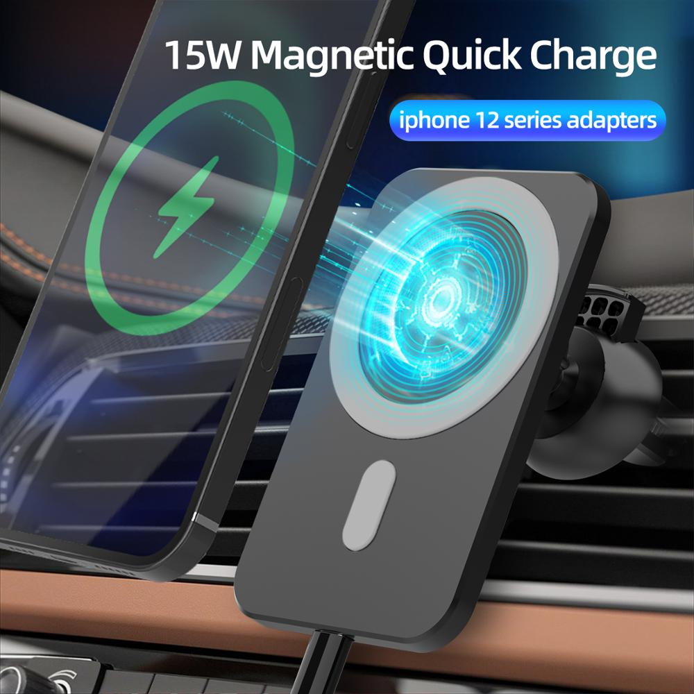 15W Wireless Car Charger For Magsafe iphone 12 12 Pro Max 12 Mini Fast Charging Airvent Mount Magnet Adsorbable Phone Car Holder