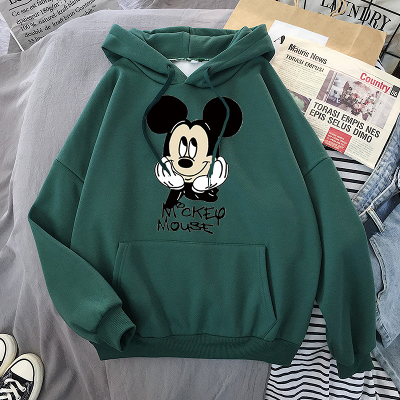 Disney Women Hoodies Minnie Mickey Mouse Hoodies Cartoon Tops Long Sleeve Pockets Sweatshirts Fashion Hooded Women 31