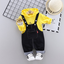 Autumn  Preppy Style New 0-4 Year Small Dinosaur Salopettes Matching Outfits Tide Fan Suit