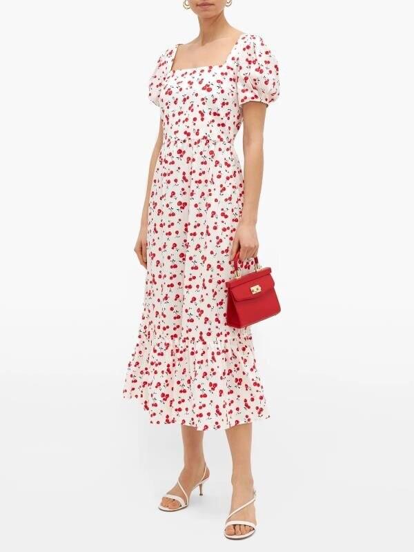 2020 New Spring Summer European Square Collar Printed Female Dress Zaraing Vadiming Sheining Women Long Dress YYG9557