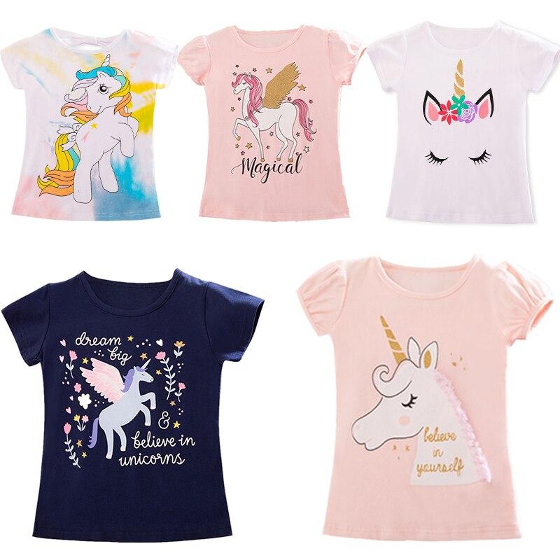 Детская футболка детские рубашки для девочек и мальчиков детские футболки с единорогом для малышей, одежда для вечеринок Короткие футболки|Тройники| - AliExpress