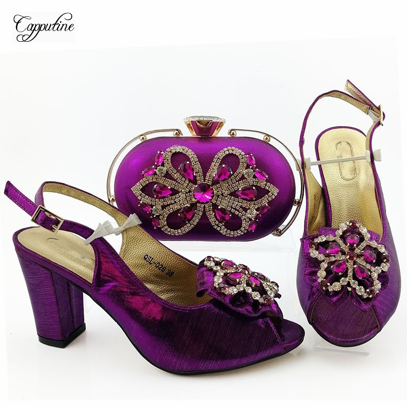 Popular dark green shoes with bag sets Fashion Italian design shoes and purse series QSL026, heel height 9cm - 2