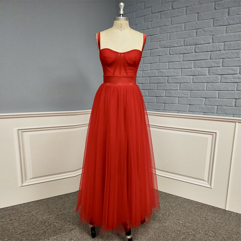 New Arrival Elegant Soft Tulle Long Red Prom Dress Evening Gown