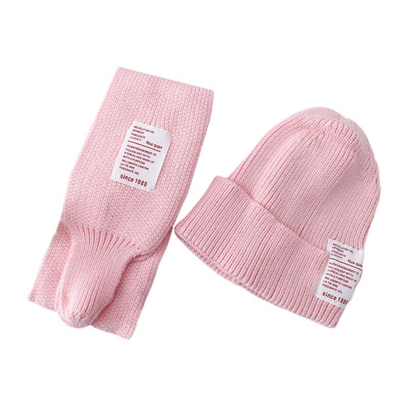 Fashion 2Pcs Kids Baby Winter Hat Long Scarf Set Candy Color Letters Patch Beanie Cap