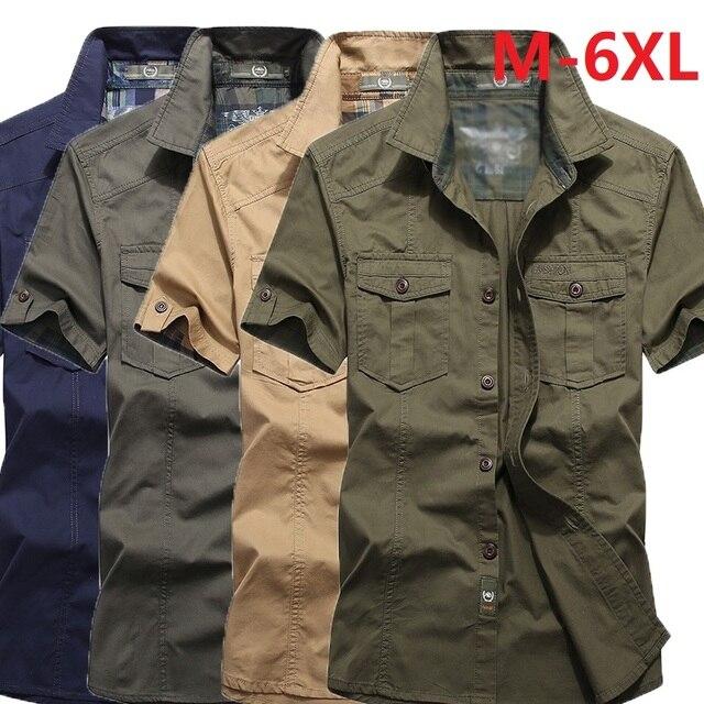 Летняя рубашка с коротким рукавом в военном стиле 1
