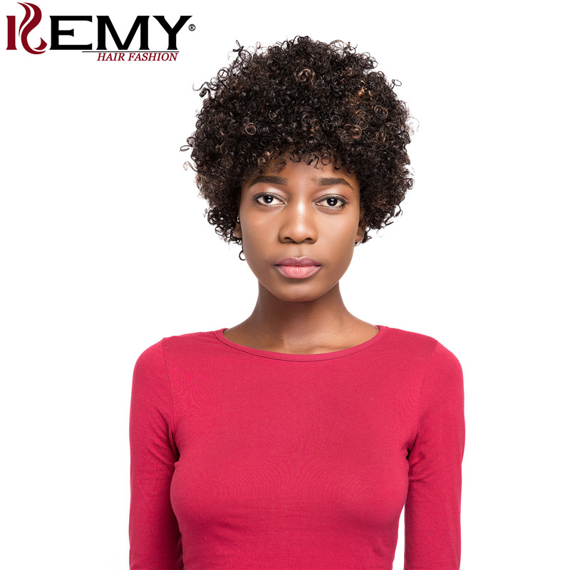 Afro Kinky Curly Short Human Hair Wigs For Black Women Brazilian Remy Africa America Wigs 150% Density Hair Wigs KEMY HAIR