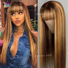 Gölgeli insan saçı peruk vurgulamak düz kahküllü peruk bal sarışın tutkalsız perulu Remy saç tam makinesi yapımı peruk kadınlar için