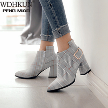 2020 Large Size Women Boots Fashion Plaid Pointed Toe High H
