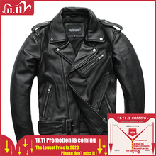 MAPLESTEED Classical Motorcycle Jackets Men Leather Jacket 100% Natural Calf Skin Thick Moto Jacket Winter Sleeve 61 67cm M192