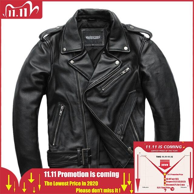 Maplesteed clássico motocicleta jaquetas jaqueta de couro masculino 100% natural pele de bezerro grosso moto jaqueta manga de inverno 61 67cm m192