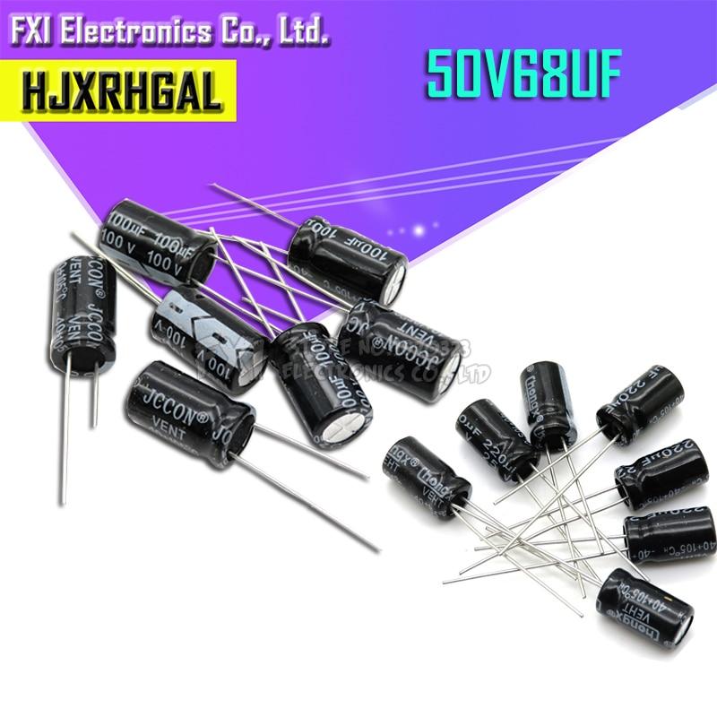 10PCS 50v68uf 68uf50v 6*12 Electrolytic Capacitor 50v 68uf 6x12