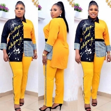 2 Two Piece Set Women African Clothes Summer Fashion Africa Suit Top And Pants Super Elastic Plus Size African Suits For Lady