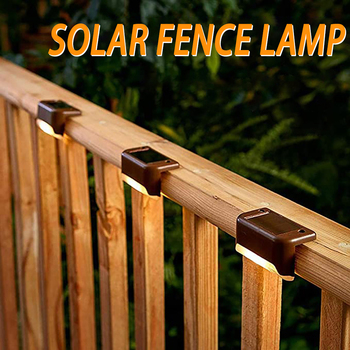 LED Solar Lamp Path Stair Outdoor Waterproof Wall Light Garden Landscape Step Stair Deck Balcony Fence Solar Lights Fence Lamp