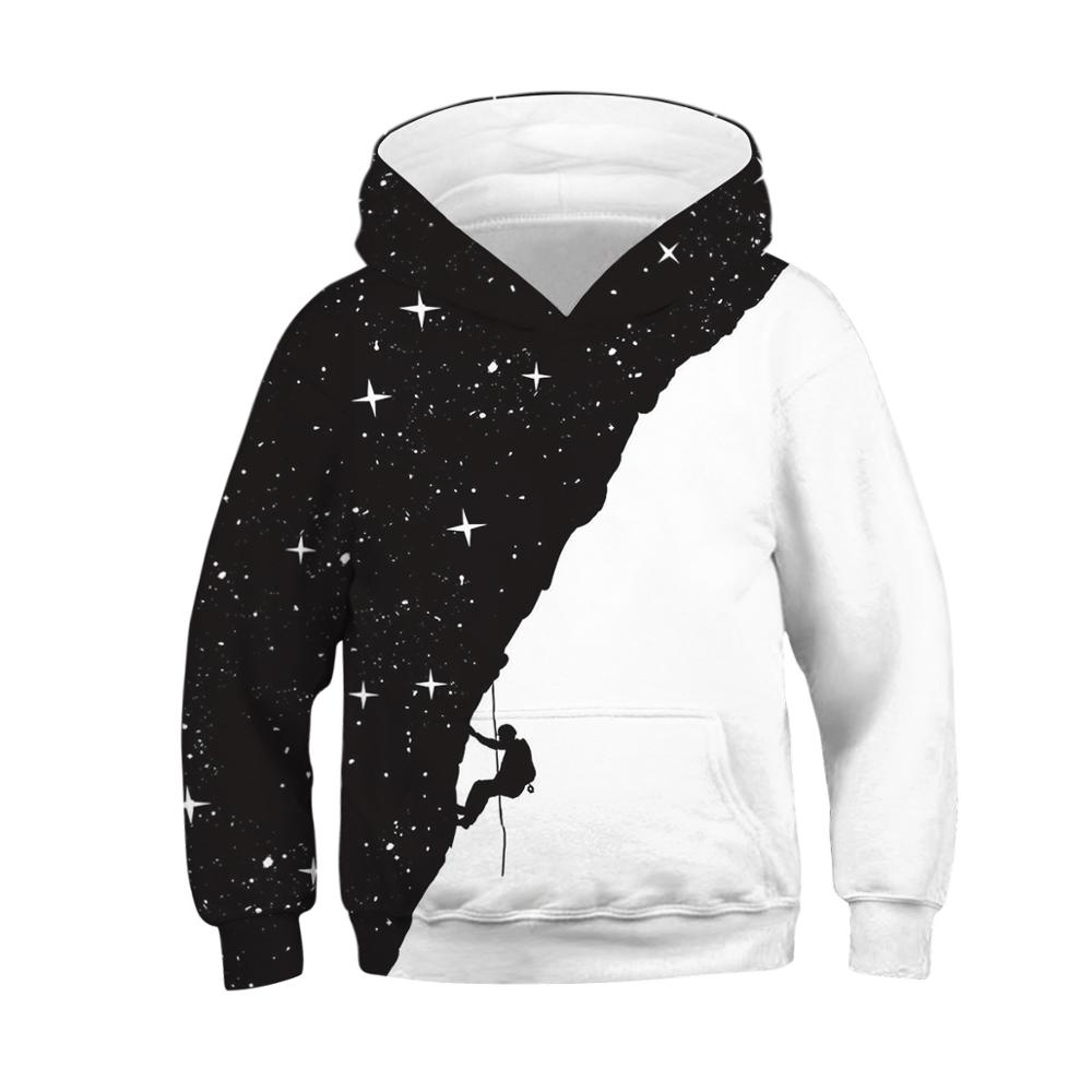Hoodie Kids Girls Clothes Boys Sweatshirt Sky Climber Black Teen Pullover Starry White title=