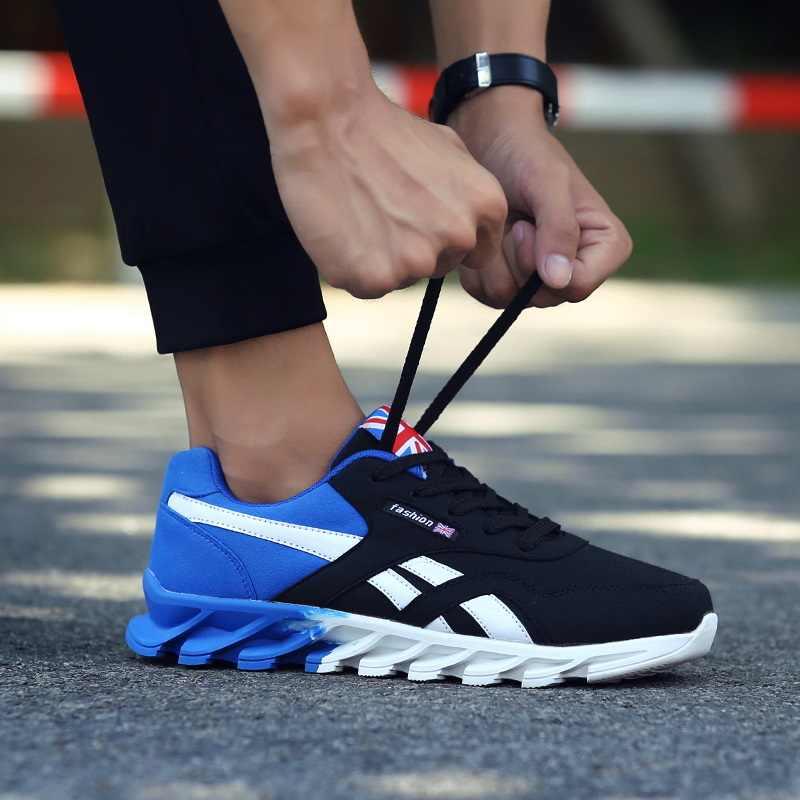Hommes chaussures de course automne nouveau cuir PU lame baskets haute qualité lumière extérieure confortable Sport chaussures de Sport hommes baskets, sneakers
